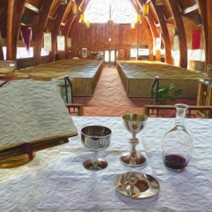 church interior in oil effect